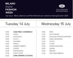 意大利时尚协会发布 2020年线上米兰时装周日程安排,共包括39场